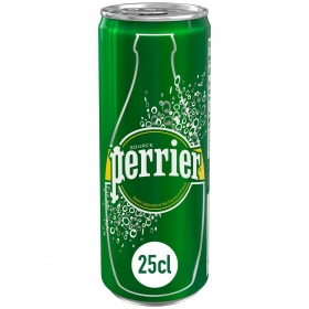 Agua mineral con gas Perrier natural lata 25 cl.