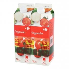 Gazpacho Carrefour sin gluten pack de 2 unidades de 1 l.