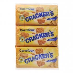 Crackers Carrefour pack de 3 unidades de 100 g.