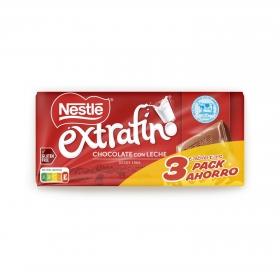 Chocolate con leche extrafino Nestlé pack de 3 tabletas de 125 g.