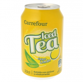 Refresco de té Carrefour sabor limón lata 33 cl.