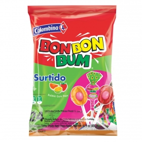 Caramelo con palo relleno de chicle sabores surtidos  Bon Bon Bum Colombina pack de 24 unidades de 17 g.