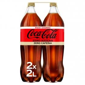 Refresco de cola Coca Cola zero sin cafeína pack de 2 botellas 2 l.