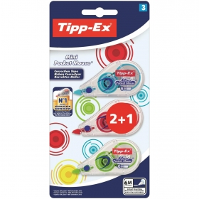 Corrector Cinta Tipp-Ex Mini Pocket Mouse 2+1 uds