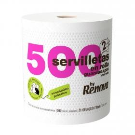 Set de  Servilletas  2 capas de Celulosa RENOVA Rollo 500pz - Blancas
