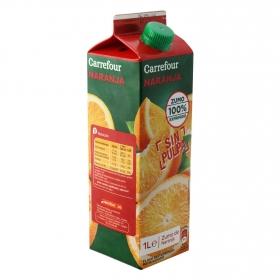 Zumo de naranja Carrefour exprimido sin pulpa brik 1 l.