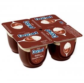 Natillas de chocolate con nata Danone Danet pack de 4 unidades de 100 g.