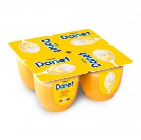 Natillas de vainilla con nata Danone Danet pack de 4 unidades de 100 g.