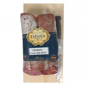 Lote 2 embutidos ibericos cebo pieza: chorizo y salchichón Emb. España 800 g