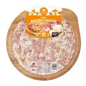 Pizza de bacon y queso Carrefour 400 g.