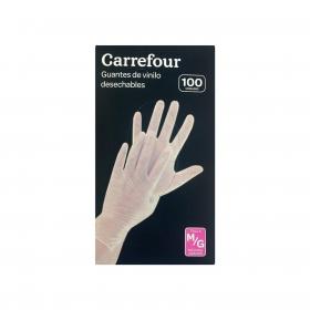 100 Guantes desechables de Vinilo Carrefour  M/G - Translúcido