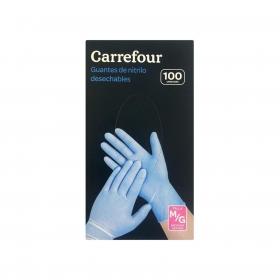 100 Guantes desechables de Nitrilo Carrefour  M/G - Azul