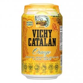 Agua mineral Vichy Catalán natural con gas sabor naranja lata 33 cl.