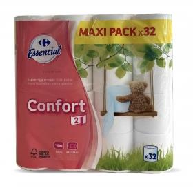 Papel higiénico confort suave Carrefour 32 rollos.