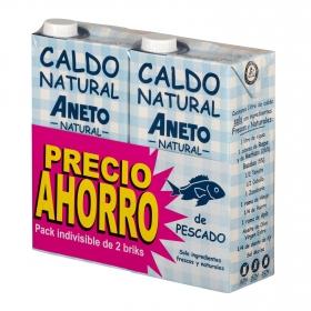 Caldo natural de pescado Aneto sin gluten y sin lactosa pack de 2 briks de 1 l.