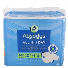 Pañal All In 1 Day talla mediana Absodys Carrefour 20 ud.