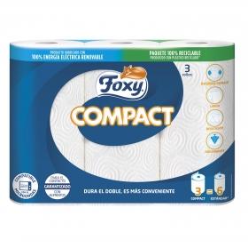 Papel de cocina compacto Foxy 3 rollos.