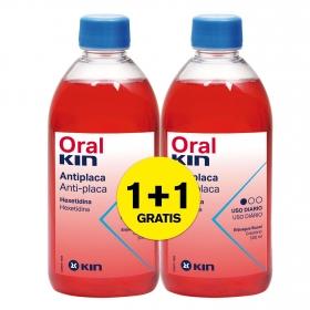 Enjuague bucal antiplaca Kin pack de 2 unidades de 500 ml.