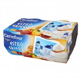 Yogur griego bicapa de maracuyá y de melocotón Carrefour pack de 4 unidades de 125 g.