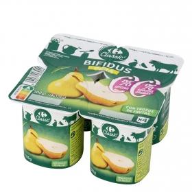 Yogur bífidus desnatado con trozos de pera Carrefour pack de 4 unidades de 125 g.