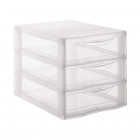 Organizador de Plástico CARREFOUR H. 25,5 x 18 x 25,5 cm - Translúcido