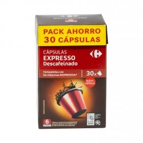 Café descafeinado en cápsulas Carrefour compatible con Nespresso 30 unidades de 5,2 g..