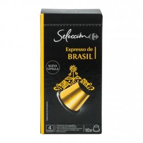 Café espresso de Brasil en cápsulas Carrefour Selección compatible con Nespresso 10 unidades de 5,2 g.