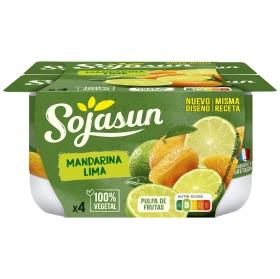 Preparado de soja con mandarina y lima Sojasun sin lactosa pack de 4 unidades de 100 g.