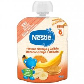 Preparado de plátano, naranja y galleta desde 6 meses Nesté sin gluten bolsita de 90 g.
