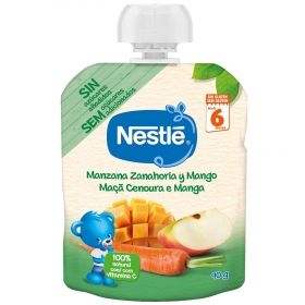 Preparado de manzana, zanahoria y mango desde 6 meses Nestlé sin gluten bolsita Nestlé 90 g.