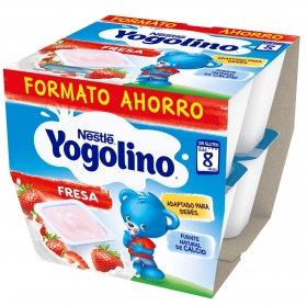 Postre lácteo de fresa desde 8 meses Nestlé Yogolino sin gluten pack de 8 unidades de 100 g.