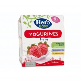 Yogur de fresa desde 6 meses sin azúcar añadido Hero Baby Yogurines pack de 4 unidades de 100 g.