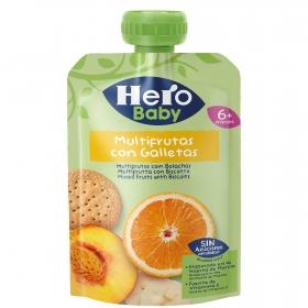 Preparado multifrutas con galleta desde 6 meses Hero Baby sin azúcares añadidos bolsita de 100 g.