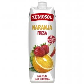 Zumo de naranja y fresa Zumosol exprimido brik 1 l.