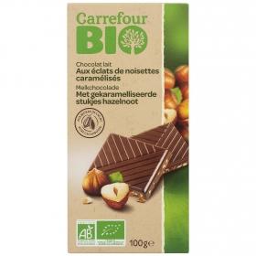 Chocolate con leche con avellanas caramelizadas ecológico Carrefour Bio 100 g.