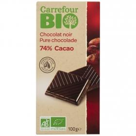 Chocolate negro 74% ecológico Carrefour Bio 100 g.