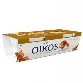 Yogur griego con caramelo Danone Oikos Tentaciones pack de 2 unidades de 110 g.