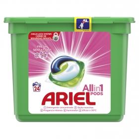 Detergente en cápsulas 3 en 1 Sensaciones Ariel 24 ud.