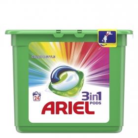 Detergente en cápsulas 3 en 1 Colour&Style Ariel 24 ud.