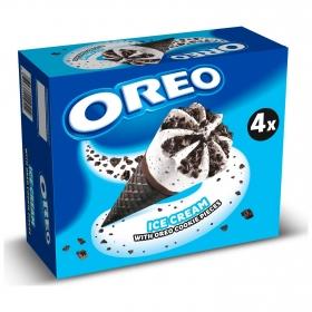 Conos con helado de nata y galleta Oreo 4 ud.