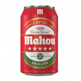 Cerveza Mahou 5 Estrellas especial sin gluten lata 33 cl.