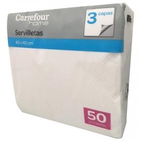 Servilletas  3 capas de Celulosa CARREFOUR HOME 20x7,5cm - Blanco