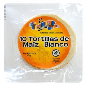Tortillas maíz blanco El Sarape 10 ud.