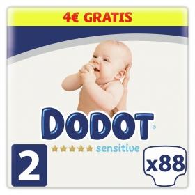 Pañales Dodot Sensitive recién nacido T2 (4kg-8kg.) 92 ud.