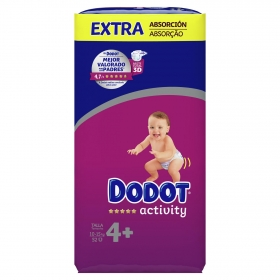 Pañales Dodot Activity extra absorción T4+ (10kg-15kg.) 52 ud.