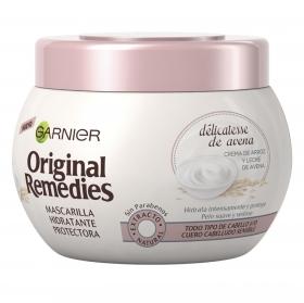 Mascarilla capilar protectora hidratante délicatesse de avena Garnier Original Remedies 300 ml.