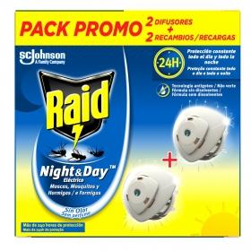 Insecticida eléctrico Nigh&Day moscas, mosquitos y hormigas Raid 2 aparatos + 2 recambios