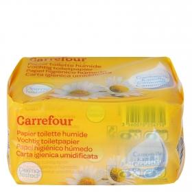 Papel higiénico húmedo con camomila Carrefour pack de 2 paquetes de 60 ud.