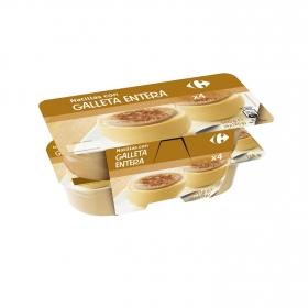 Natillas con galleta entera Carrefour pack de 4 unidades de 125 g.