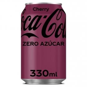 Refresco de cola Coca Cola zero sabor cereza lata 33 cl.